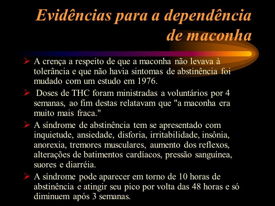 Evidências para a dependência de maconha A crença a respeito de que a maconha não levava à tolerância e que não havia sintomas de abstinência foi muda