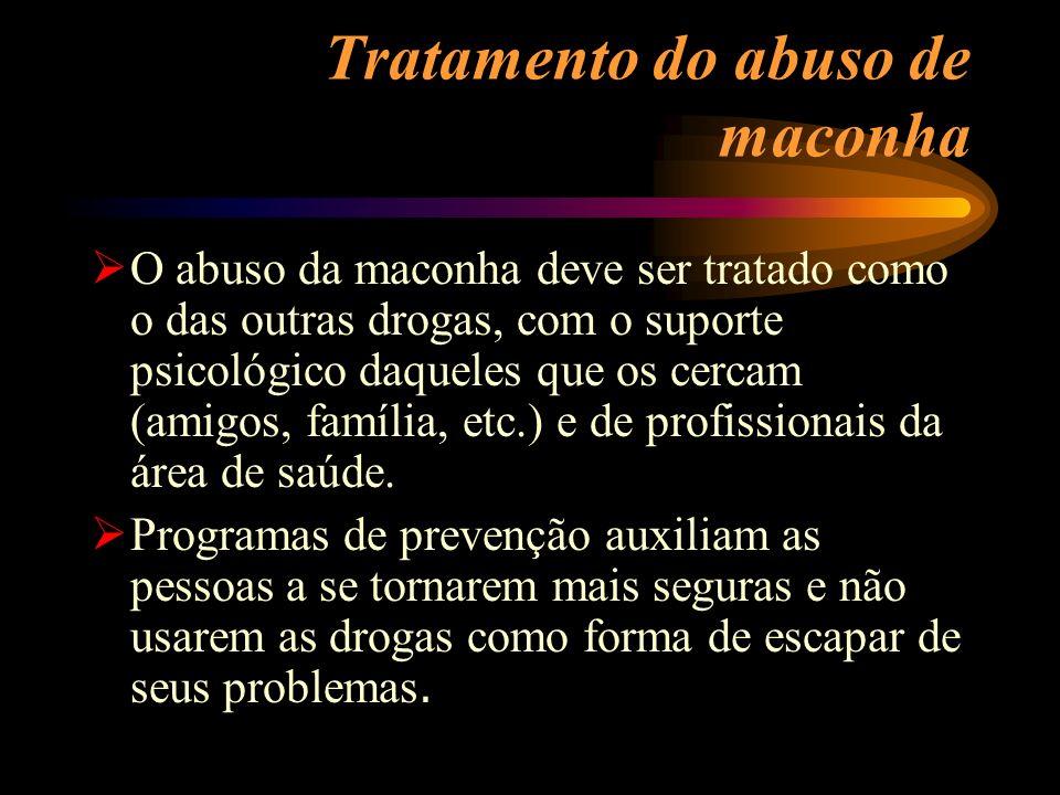 Tratamento do abuso de maconha O abuso da maconha deve ser tratado como o das outras drogas, com o suporte psicológico daqueles que os cercam (amigos,