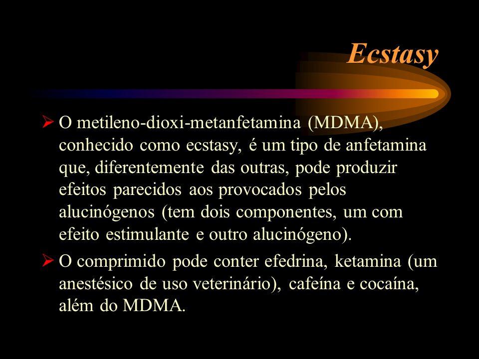 Ecstasy O metileno-dioxi-metanfetamina (MDMA), conhecido como ecstasy, é um tipo de anfetamina que, diferentemente das outras, pode produzir efeitos p