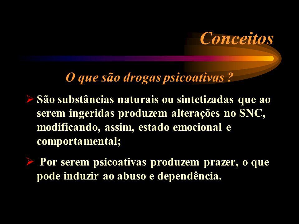 Conceitos O que são drogas psicoativas ? São substâncias naturais ou sintetizadas que ao serem ingeridas produzem alterações no SNC, modificando, assi