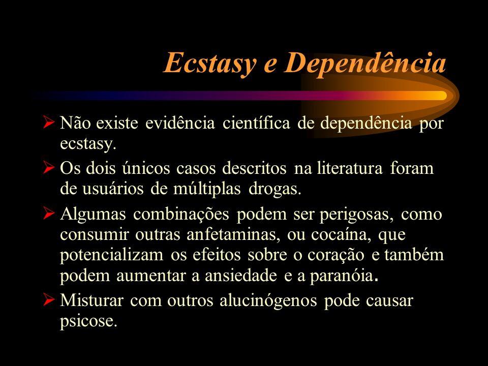Ecstasy e Dependência Não existe evidência científica de dependência por ecstasy. Os dois únicos casos descritos na literatura foram de usuários de mú