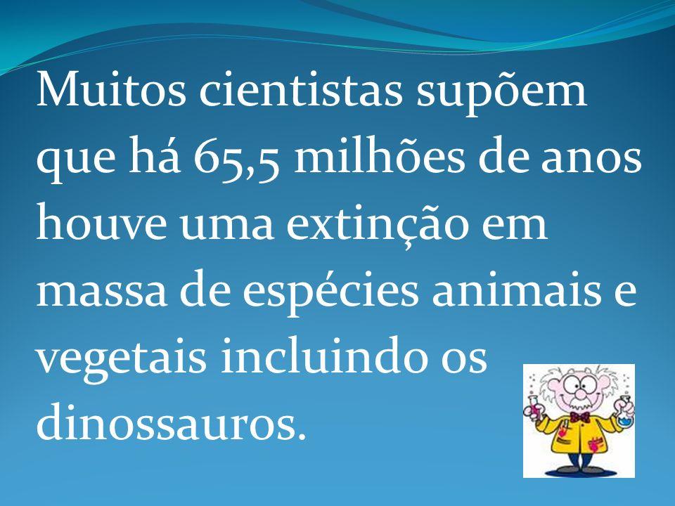Muitos cientistas supõem que há 65,5 milhões de anos houve uma extinção em massa de espécies animais e vegetais incluindo os dinossauros.