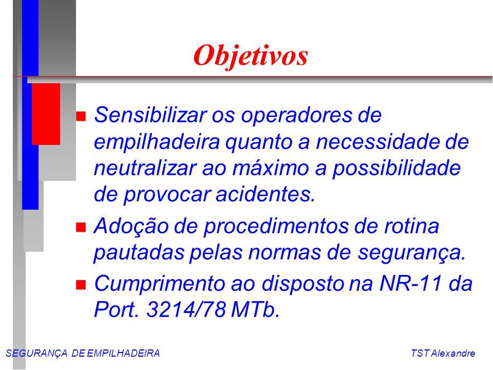 SEGURANÇA DE EMPILHADEIRA TST Alexandre Empilhadeira - Conceito n Veículo motorizado, utilizado no transporte, elevação e movimentação de cargas e materiais.
