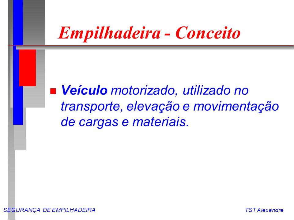 SEGURANÇA DE EMPILHADEIRA TST Alexandre Empilhadeira - Atividades n Deslocamento de cargas e materiais, tanto na horizontal como na vertical.