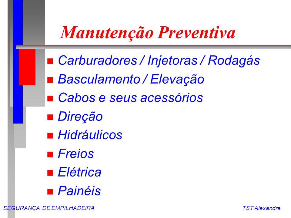 SEGURANÇA DE EMPILHADEIRA TST Alexandre Operador n Pessoa habilitada e treinada, com conhecimento técnico e funcional do equipamento.