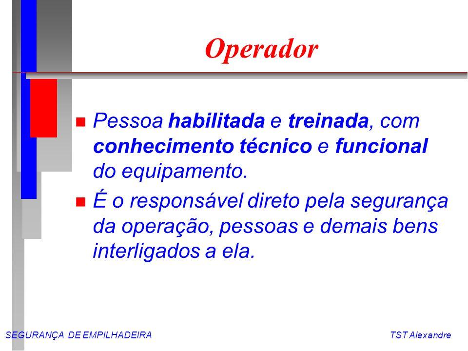 SEGURANÇA DE EMPILHADEIRA TST Alexandre Manutenção l Ao iniciar o turno de trabalho faça um checagem no veículo.