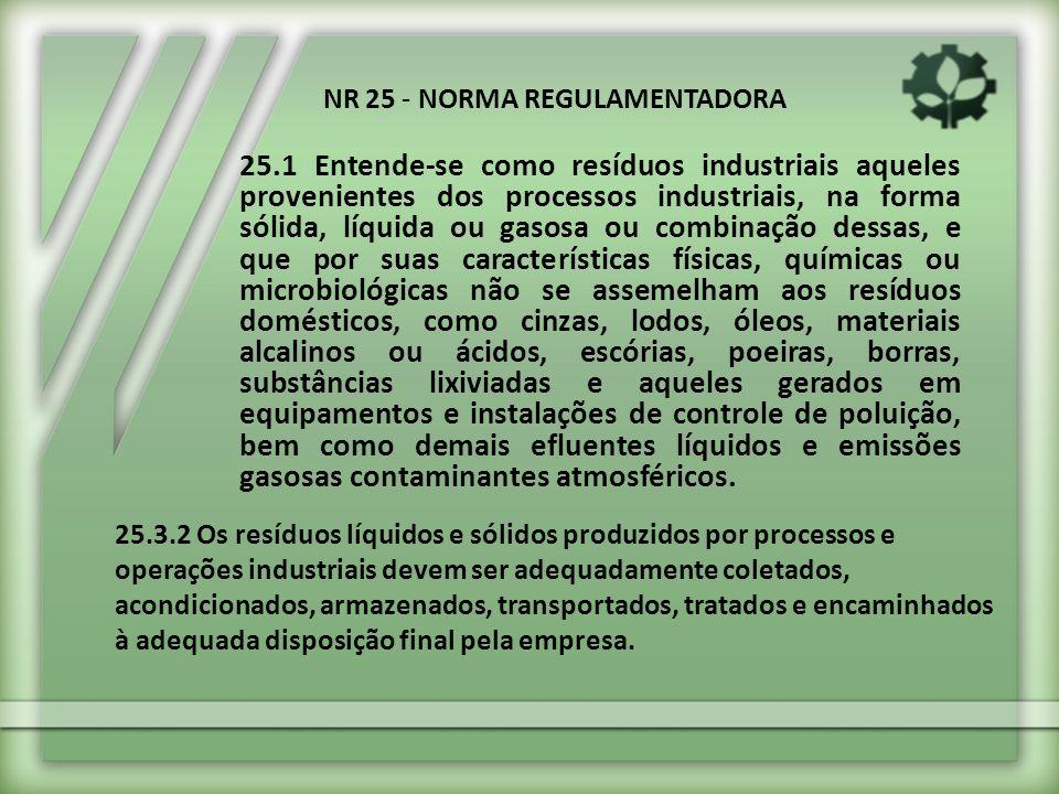25.1 Entende-se como resíduos industriais aqueles provenientes dos processos industriais, na forma sólida, líquida ou gasosa ou combinação dessas, e q
