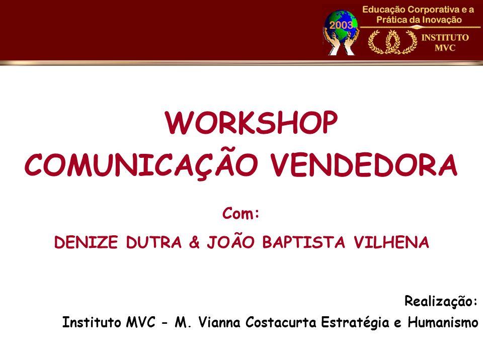 WORKSHOP COMUNICAÇÃO VENDEDORA Com: DENIZE DUTRA & JOÃO BAPTISTA VILHENA Realização: Instituto MVC - M. Vianna Costacurta Estratégia e Humanismo