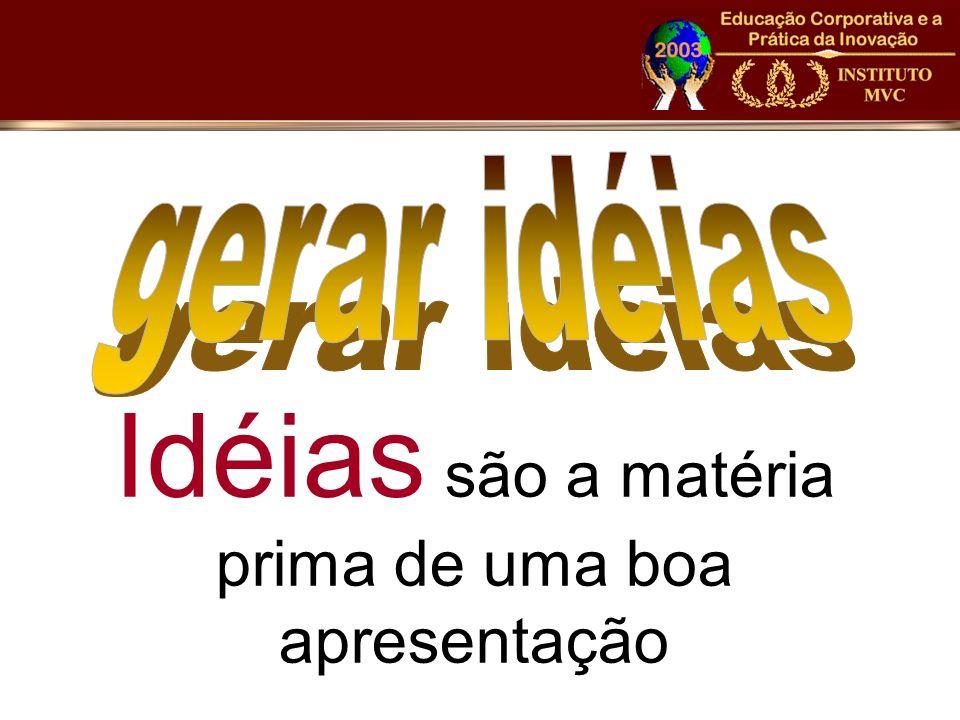 Idéias são a matéria prima de uma boa apresentação