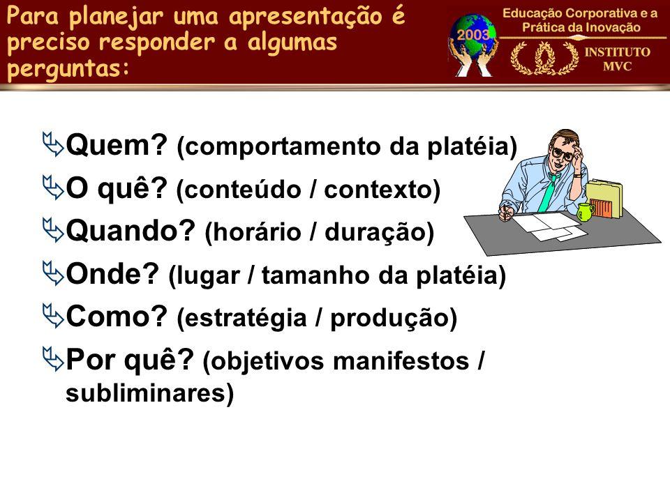 Para planejar uma apresentação é preciso responder a algumas perguntas: Quem? (comportamento da platéia) O quê? (conteúdo / contexto) Quando? (horário
