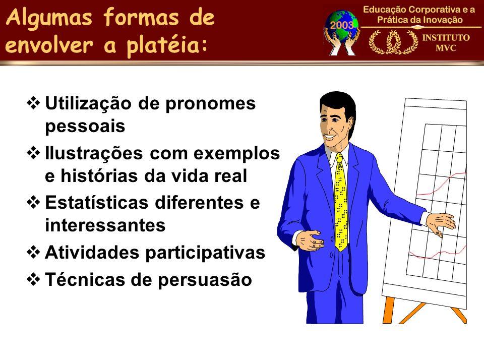 Algumas formas de envolver a platéia: Utilização de pronomes pessoais Ilustrações com exemplos e histórias da vida real Estatísticas diferentes e inte