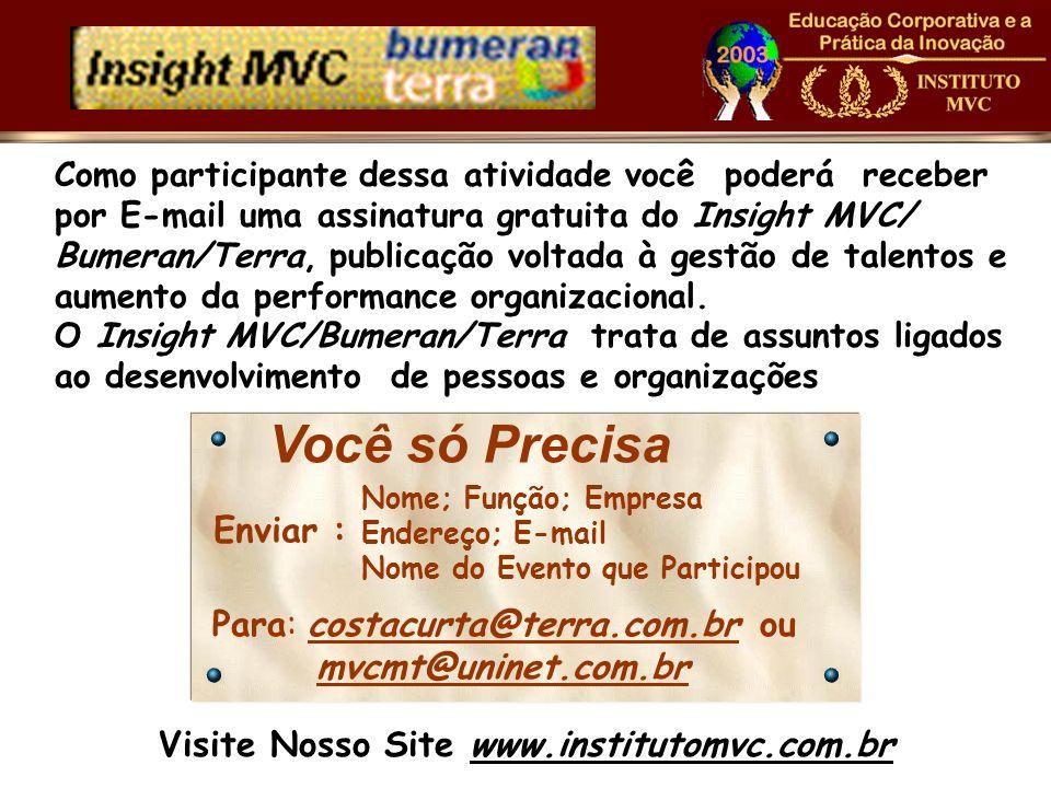 Como participante dessa atividade você poderá receber por E-mail uma assinatura gratuita do Insight MVC/ Bumeran/Terra, publicação voltada à gestão de