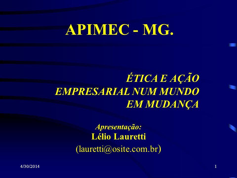 4/30/20141 ÉTICA E AÇÃO EMPRESARIAL NUM MUNDO EM MUDANÇA APIMEC - MG. Apresentação: Lélio Lauretti (lauretti@osite.com.br )