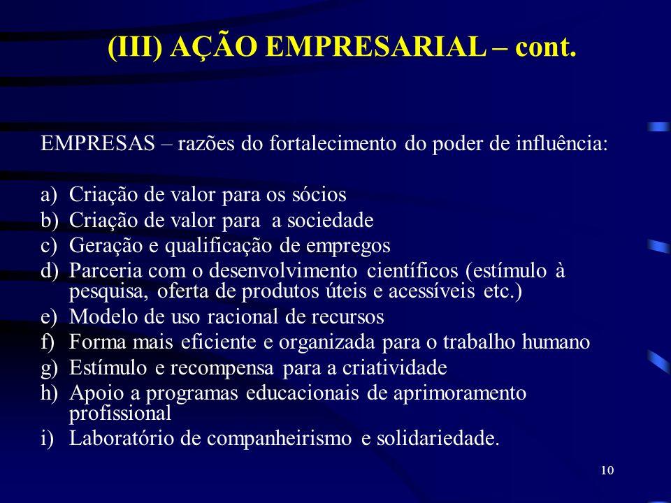 10 (III) AÇÃO EMPRESARIAL – cont. EMPRESAS – razões do fortalecimento do poder de influência: a)Criação de valor para os sócios b)Criação de valor par