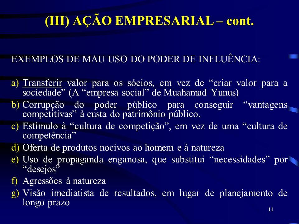 11 (III) AÇÃO EMPRESARIAL – cont. EXEMPLOS DE MAU USO DO PODER DE INFLUÊNCIA: a)Transferir valor para os sócios, em vez de criar valor para a sociedad