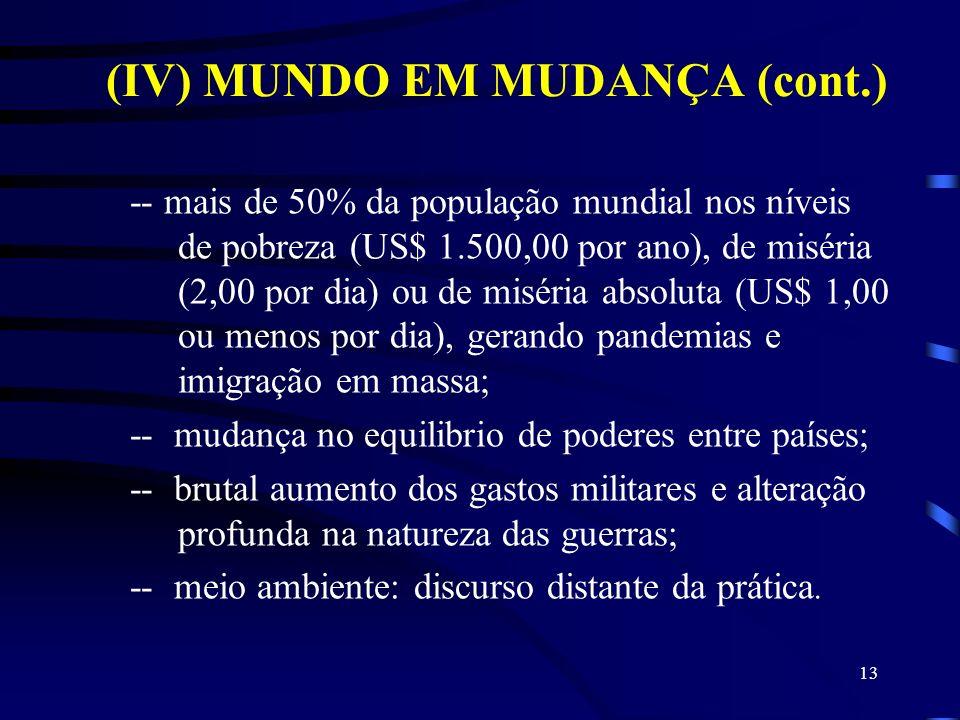 (IV) MUNDO EM MUDANÇA (cont.) -- mais de 50% da população mundial nos níveis de pobreza (US$ 1.500,00 por ano), de miséria (2,00 por dia) ou de miséri