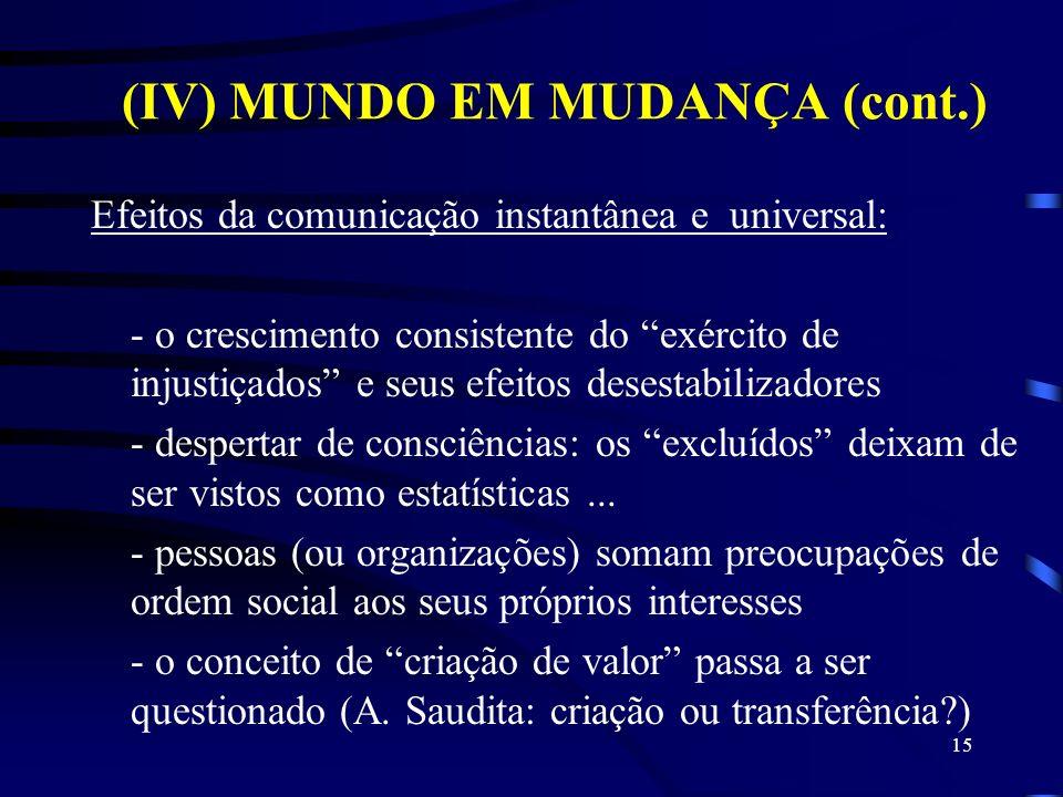 (IV) MUNDO EM MUDANÇA (cont.) Efeitos da comunicação instantânea e universal: - o crescimento consistente do exército de injustiçados e seus efeitos d