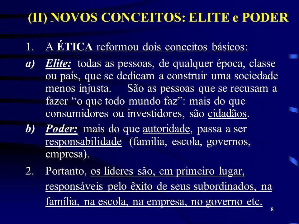 8 1.A ÉTICA reformou dois conceitos básicos: a)Elite: todas as pessoas, de qualquer época, classe ou país, que se dedicam a construir uma sociedade me