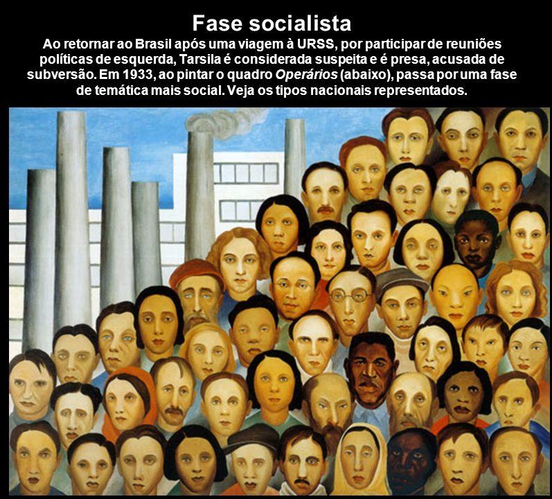 Fase socialista Ao retornar ao Brasil após uma viagem à URSS, por participar de reuniões políticas de esquerda, Tarsila é considerada suspeita e é pre