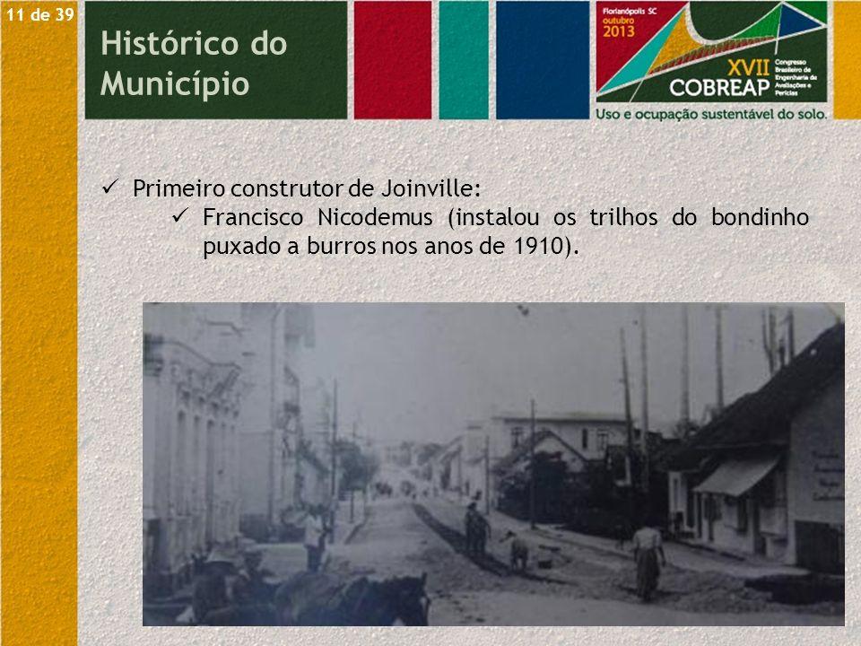 Primeiro construtor de Joinville: Francisco Nicodemus (instalou os trilhos do bondinho puxado a burros nos anos de 1910). 11 de 39 Histórico do Municí
