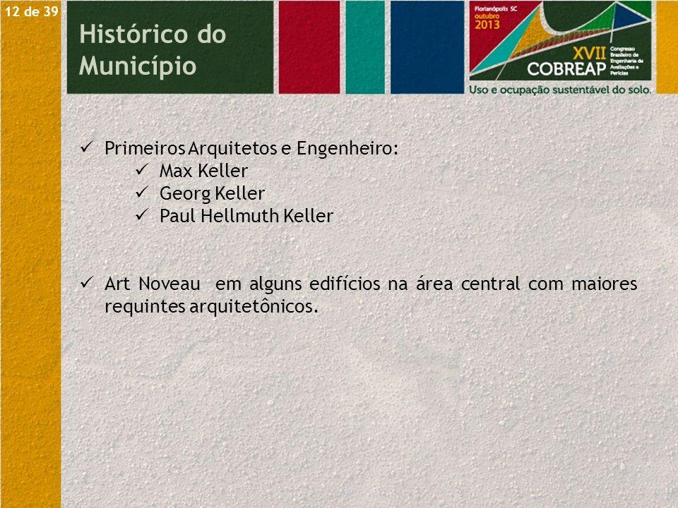 Primeiros Arquitetos e Engenheiro: Max Keller Georg Keller Paul Hellmuth Keller Art Noveau em alguns edifícios na área central com maiores requintes a