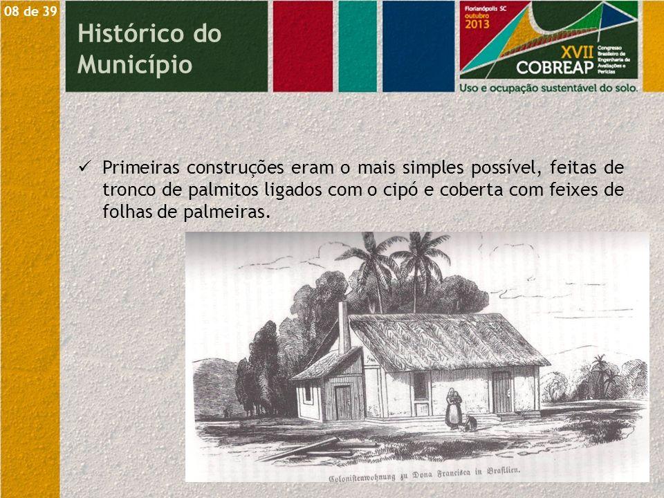 Primeiras construções eram o mais simples possível, feitas de tronco de palmitos ligados com o cipó e coberta com feixes de folhas de palmeiras. 08 de