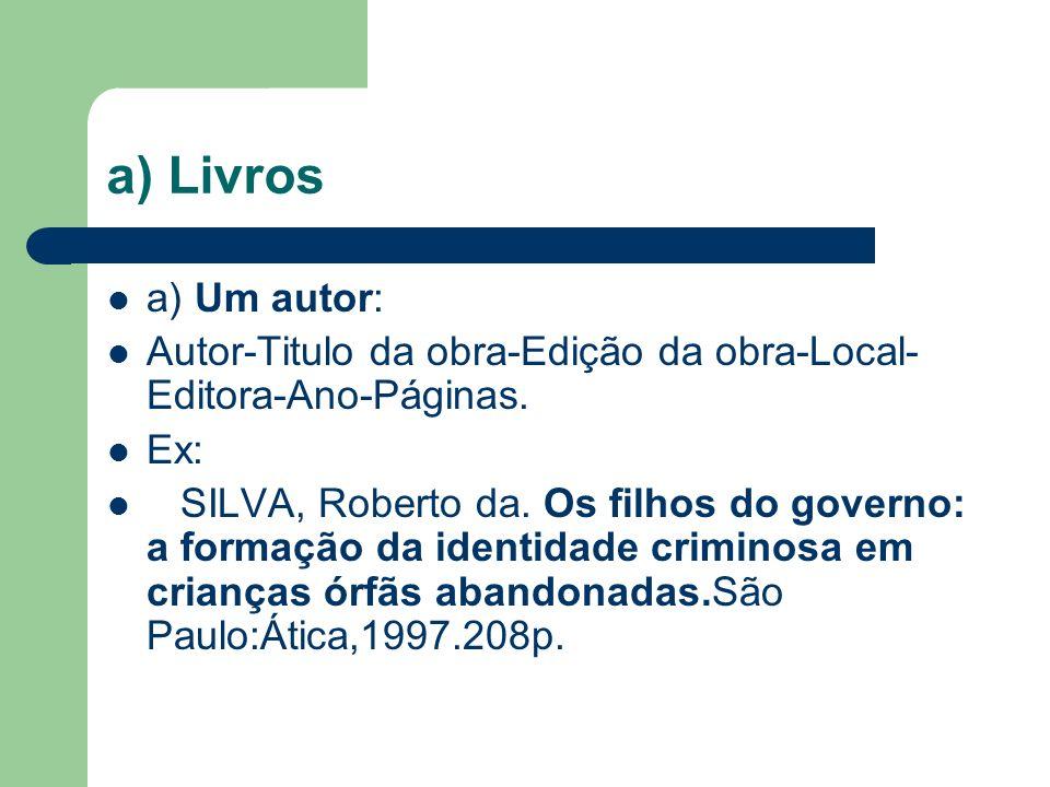 a) Livros a) Um autor: Autor-Titulo da obra-Edição da obra-Local- Editora-Ano-Páginas.