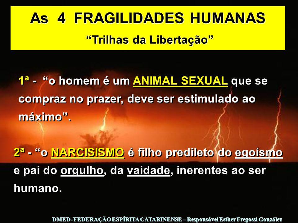 2ª - o NARCISISMO é filho predileto do egoísmo e pai do orgulho, da vaidade, inerentes ao ser humano. 1ª - o homem é um ANIMAL SEXUAL que se compraz n