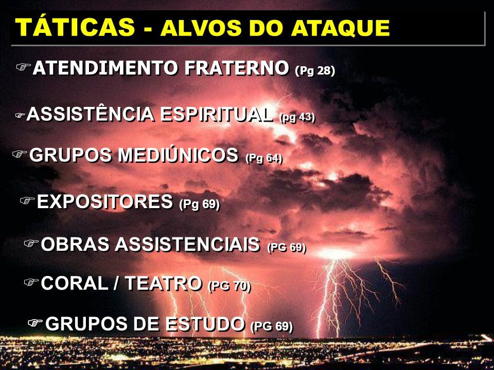 ATENDIMENTO FRATERNO (Pg 28) TÁTICAS - ALVOS DO ATAQUE GRUPOS DE ESTUDO (PG 69) CORAL / TEATRO (PG 70) OBRAS ASSISTENCIAIS (PG 69) EXPOSITORES (Pg 69)