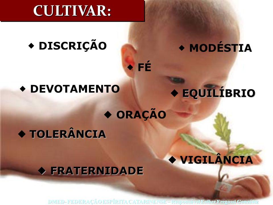 CULTIVAR:CULTIVAR: DISCRIÇÃO MODÉSTIA FÉ DEVOTAMENTO EQUILÍBRIO VIGILÂNCIA ORAÇÃO TOLERÂNCIA FRATERNIDADE FRATERNIDADE DMED- FEDERAÇÃO ESPÍRITA CATARI