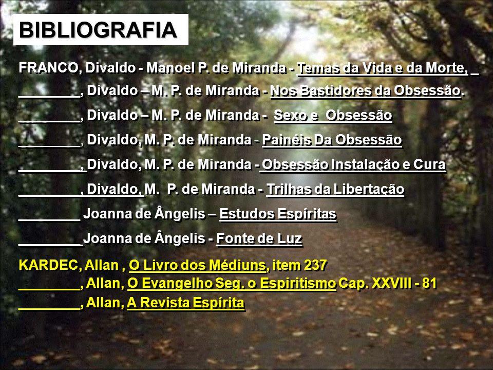 BIBLIOGRAFIA FRANCO, Divaldo - Manoel P. de Miranda - Temas da Vida e da Morte, _ ________, Divaldo – M. P. de Miranda - Nos Bastidores da Obsessão. _