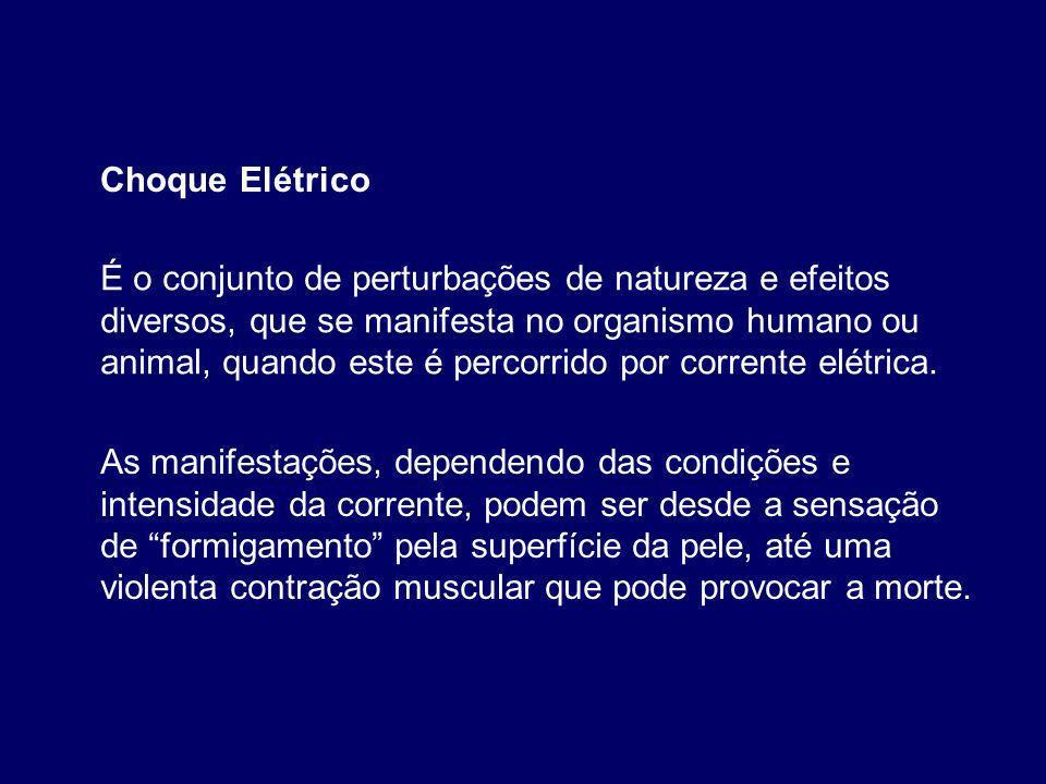 É o conjunto de perturbações de natureza e efeitos diversos, que se manifesta no organismo humano ou animal, quando este é percorrido por corrente elétrica.
