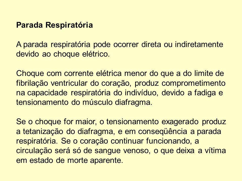 Parada Respiratória A parada respiratória pode ocorrer direta ou indiretamente devido ao choque elétrico.