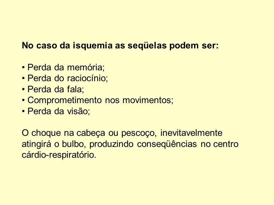 No caso da isquemia as seqüelas podem ser: Perda da memória; Perda do raciocínio; Perda da fala; Comprometimento nos movimentos; Perda da visão; O choque na cabeça ou pescoço, inevitavelmente atingirá o bulbo, produzindo conseqüências no centro cárdio-respiratório.