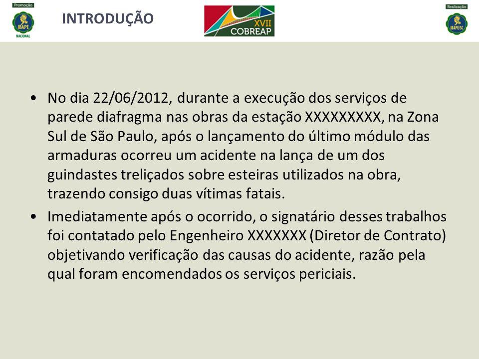 INTRODUÇÃO No dia 22/06/2012, durante a execução dos serviços de parede diafragma nas obras da estação XXXXXXXXX, na Zona Sul de São Paulo, após o lan