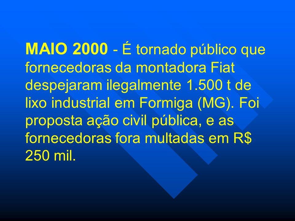 MAIO 2000 - É tornado público que fornecedoras da montadora Fiat despejaram ilegalmente 1.500 t de lixo industrial em Formiga (MG). Foi proposta ação