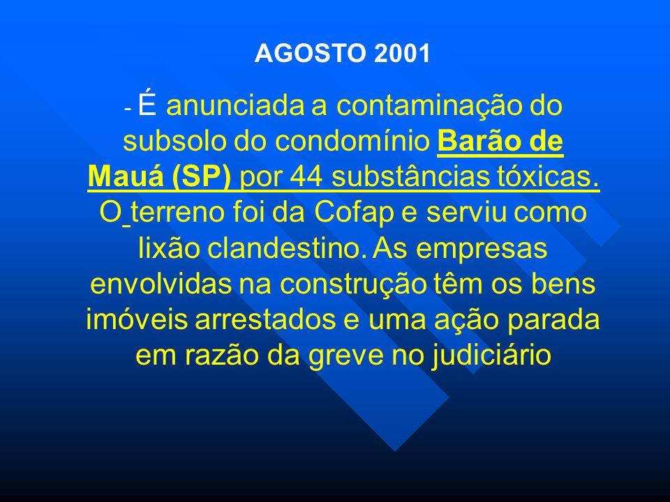 AGOSTO 2001 - É anunciada a contaminação do subsolo do condomínio Barão de Mauá (SP) por 44 substâncias tóxicas. O terreno foi da Cofap e serviu como