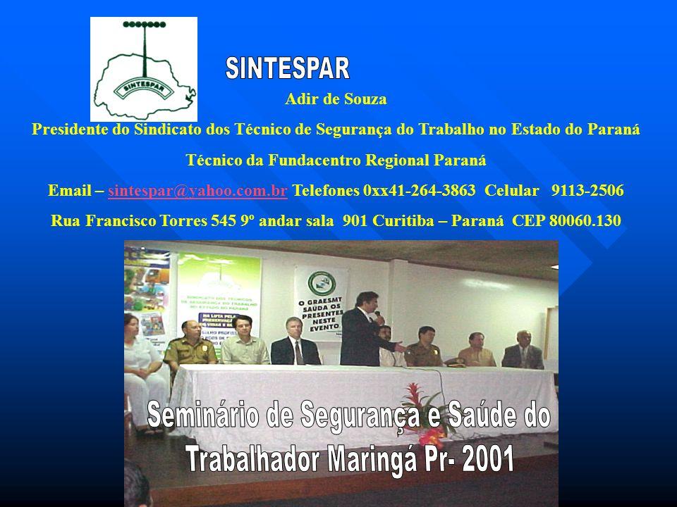 Adir de Souza Presidente do Sindicato dos Técnico de Segurança do Trabalho no Estado do Paraná Técnico da Fundacentro Regional Paraná Email – sintespa