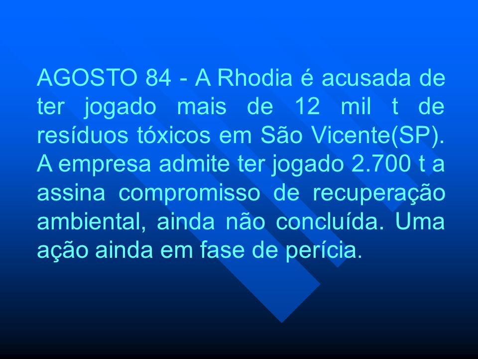AGOSTO 84 - A Rhodia é acusada de ter jogado mais de 12 mil t de resíduos tóxicos em São Vicente(SP). A empresa admite ter jogado 2.700 t a assina com