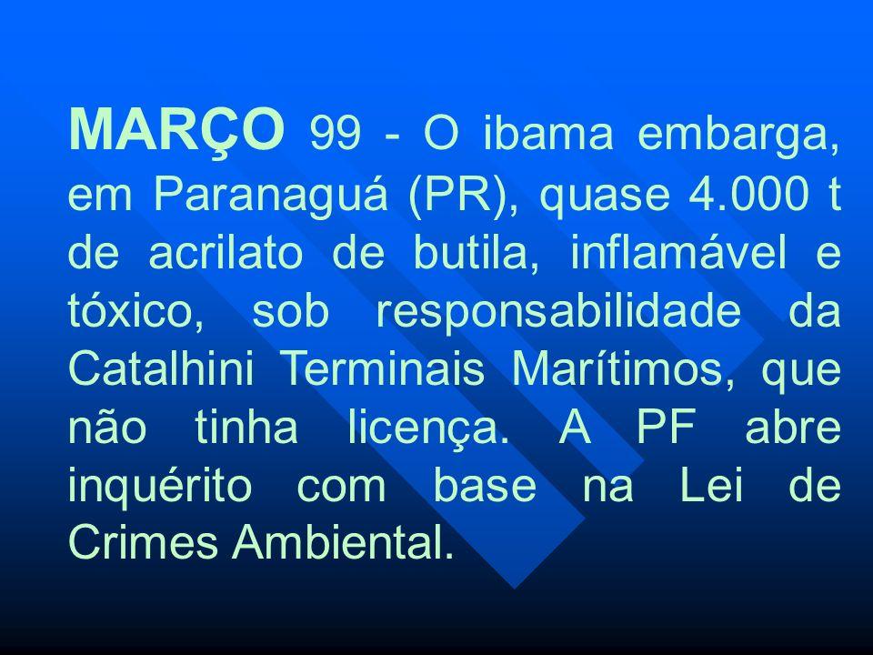 MARÇO 99 - O ibama embarga, em Paranaguá (PR), quase 4.000 t de acrilato de butila, inflamável e tóxico, sob responsabilidade da Catalhini Terminais M