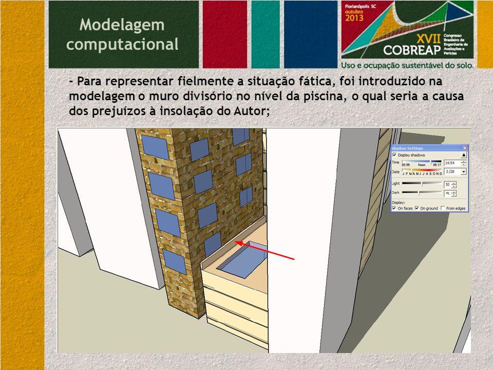 Modelagem computacional - Para representar fielmente a situação fática, foi introduzido na modelagem o muro divisório no nível da piscina, o qual seri
