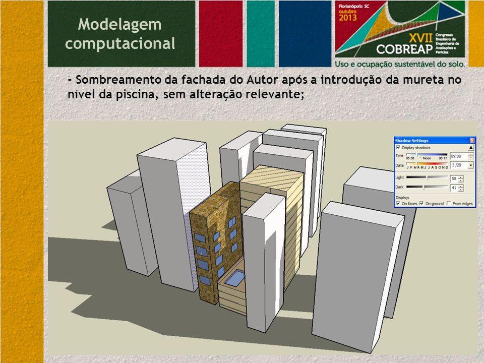 Modelagem computacional - Sombreamento da fachada do Autor após a introdução da mureta no nível da piscina, sem alteração relevante;