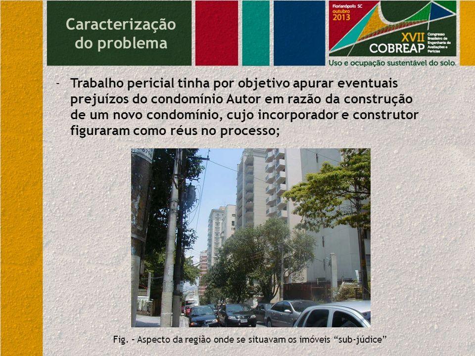 Caracterização do problema -Trabalho pericial tinha por objetivo apurar eventuais prejuízos do condomínio Autor em razão da construção de um novo cond