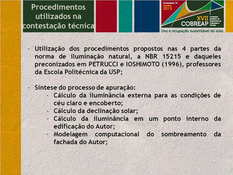 Procedimentos utilizados na contestação técnica -Utilização dos procedimentos propostos nas 4 partes da norma de iluminação natural, a NBR 15215 e daq