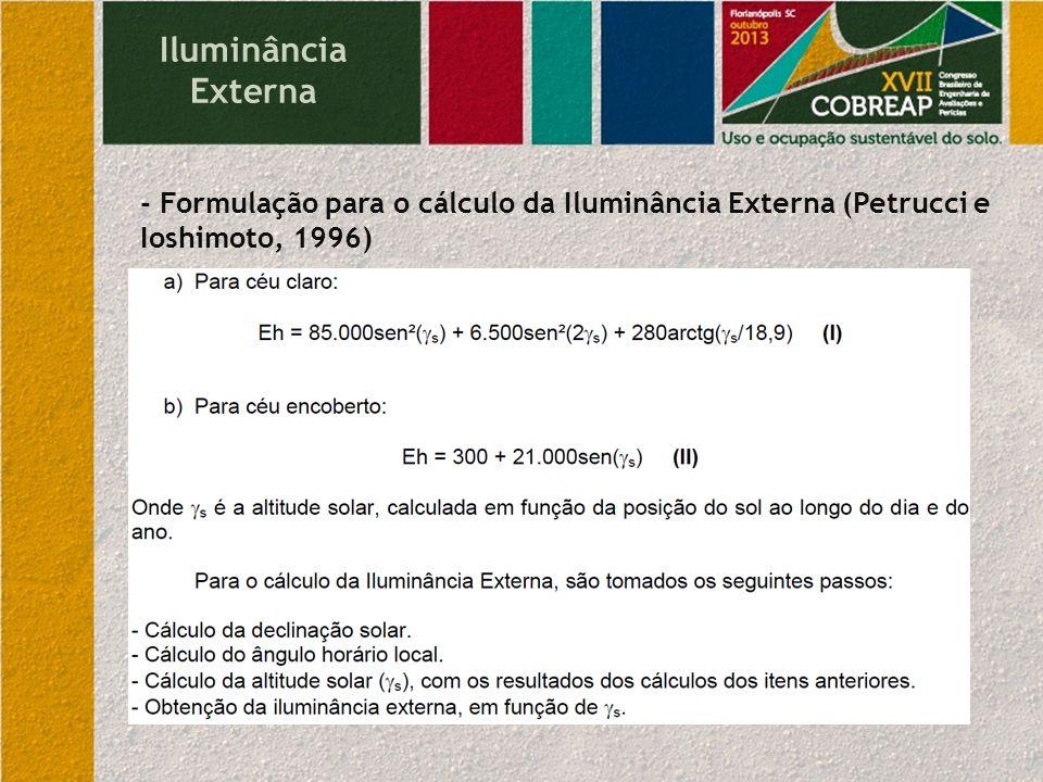Iluminância Externa - Formulação para o cálculo da Iluminância Externa (Petrucci e Ioshimoto, 1996)