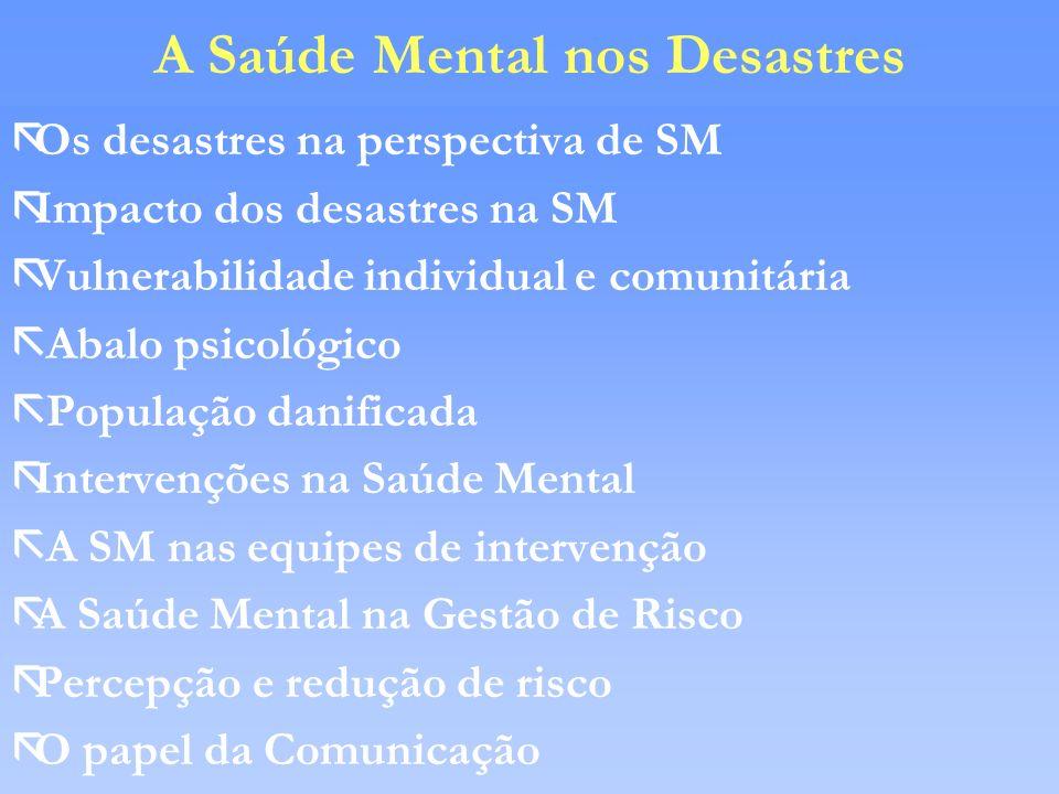 A Saúde Mental nos Desastres ãOs desastres na perspectiva de SM ãImpacto dos desastres na SM ãVulnerabilidade individual e comunitária ã Abalo psicoló