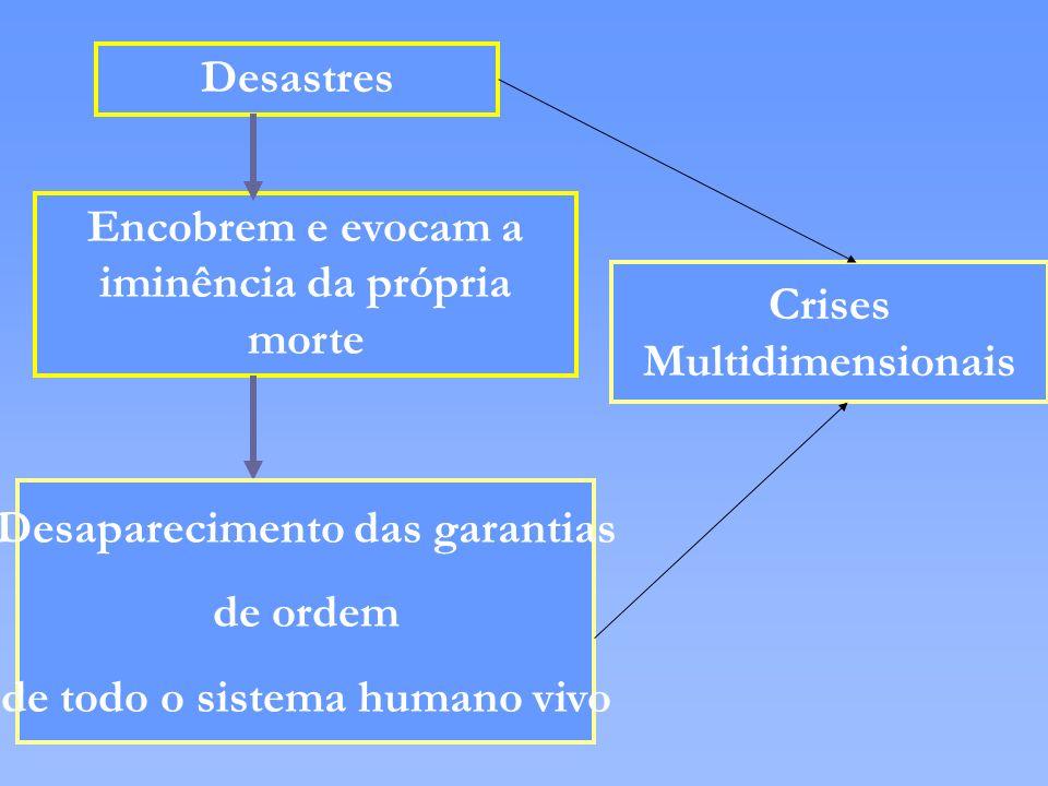 Desastres Encobrem e evocam a iminência da própria morte Desaparecimento das garantias de ordem de todo o sistema humano vivo Crises Multidimensionais
