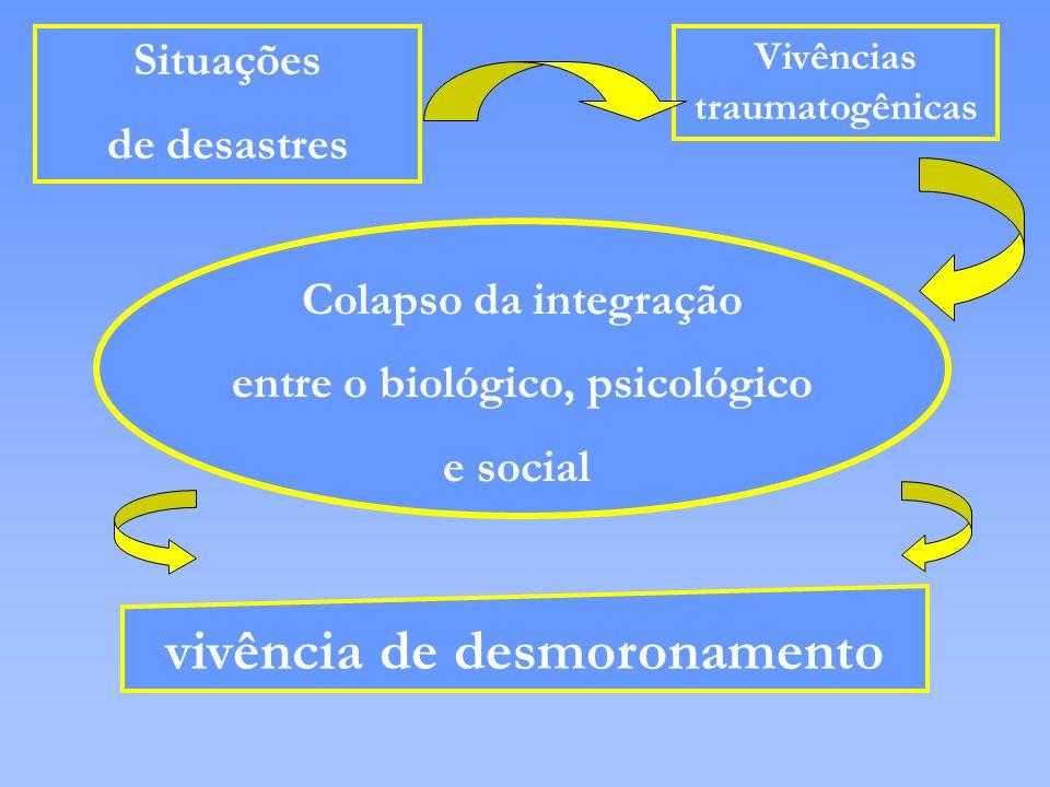 Situações de desastres Vivências traumatogênicas Colapso da integração entre o biológico, psicológico e social vivência de desmoronamento