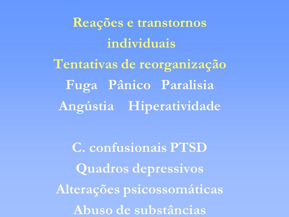 Reações e transtornos individuais Tentativas de reorganização Fuga Pânico Paralisia Angústia Hiperatividade C. confusionais PTSD Quadros depressivos A