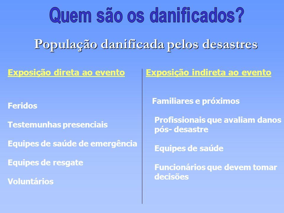 Exposição direta ao evento Exposição indireta ao evento População danificada pelos desastres Feridos Testemunhas presenciais Equipes de saúde de emerg